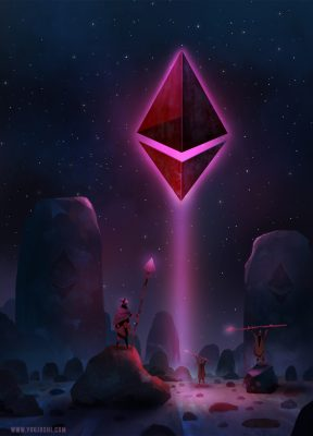 Ether in the Sky - Ethereum Painting - Crypto Artwork