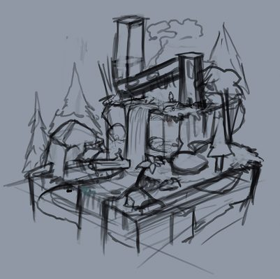 initial sketch for the waterfall animation